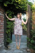 purple vintage dress - gold shoe connection shoes