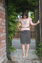 pink cardigan - gray skirt - silver belt - pink shoes