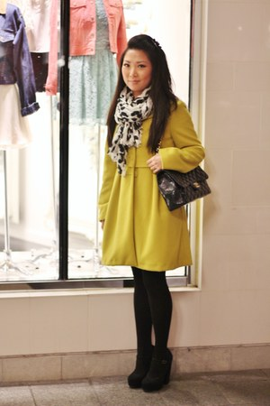 mustard Forever 21 coat - black Chanel bag