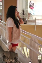 tan bag - red shorts - white t-shirt - peach vest