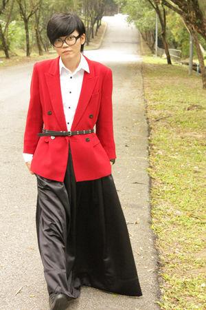 red flea market blazer - black gs skirt - white Topman shirt - black Zara belt