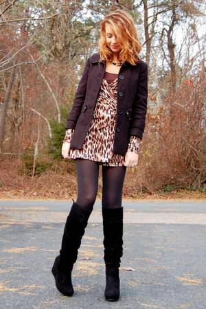 camel cheetah wrap Forever 21 dress - black suede journeys boots