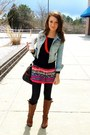 Sky-blue-denim-abercrombie-and-fitch-jacket-tribal-forever-21-skirt