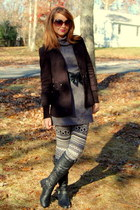 black riding Charlotte Russe boots - charcoal gray sweater unknown dress