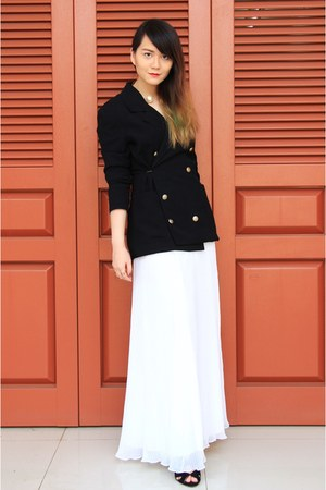 white frai skirt - black Zara heels