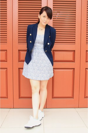 navy Mango blazer - periwinkle Zara dress - white Reebok sneakers
