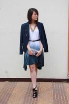 navy Mango blazer - black Zara heels - navy Zara belt