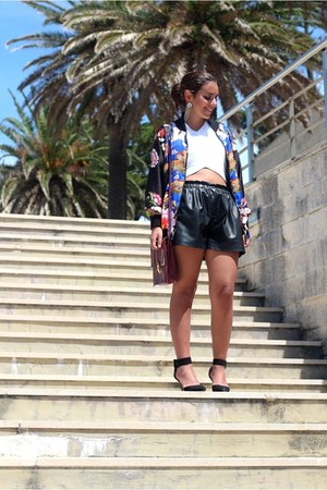Zara jacket - Zara shorts - Zara top - Zara heels - H&M earrings