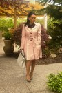 Pink-h-m-coat-gray-fendi-purse-flower-black-necklace-nude-heels