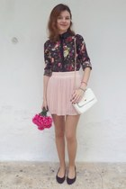 black choiescom shirt - white Tally Weijl bag - light pink OWTWO skirt