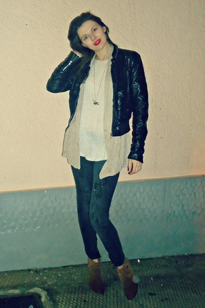 black H&amp;M jacket - bronze Tally Weijl boots - dark gray Bershka jeans