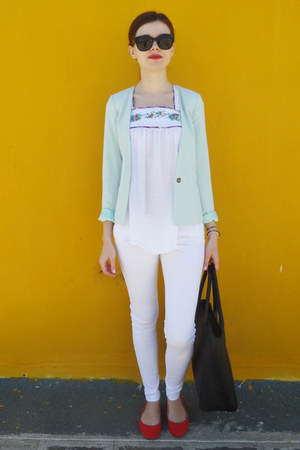 black H&M bag - light blue pull&bear blazer - red H&M flats