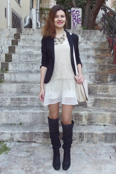 black GOMMA boots - ivory pull&bear dress - black Zara blazer - beige H&M bag