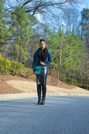 faux leather arryles skirt - Luichiny shoes - jean Target shirt - Target scarf