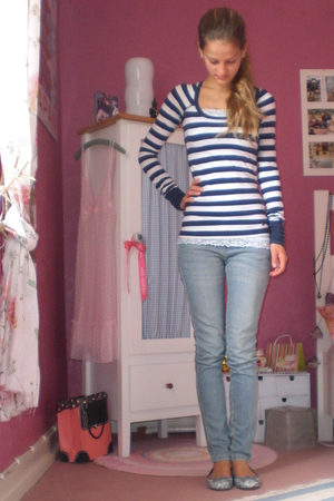 blue stripe abercrombie and fitch shirt - gray Pretty Ballerinas shoes