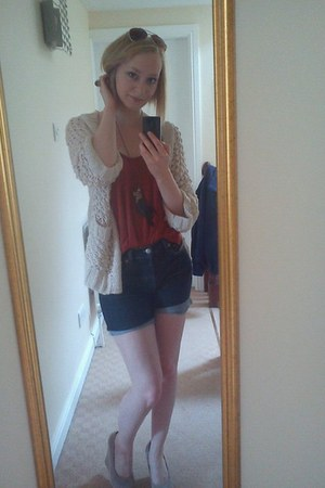 thick knit H&M cardigan - Diesel shorts - Primark top