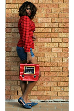 red satchel the old scholars bag - red plaid thrifted blazer