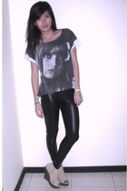 gray Zara t-shirt - beige tick Jeffrey Campbell shoes