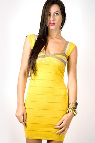yellow vintage sweater dress