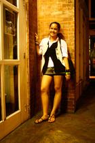white shirt - black vest - beige vest - green Mossimo shorts - black shorts - go
