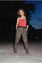 dark brown leopard print Forever 21 pants