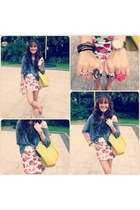 white Forever 21 skirt - navy Alice in Wonderland shirt - mustard longchamp bag