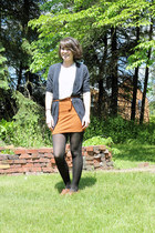 bronze Bass loafers - tawny Forever 21 skirt - white Forever 21 blouse