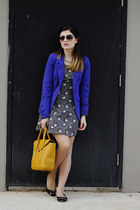 mustard Charles & Keith bag - white H&M dress - blue Vero Moda blazer