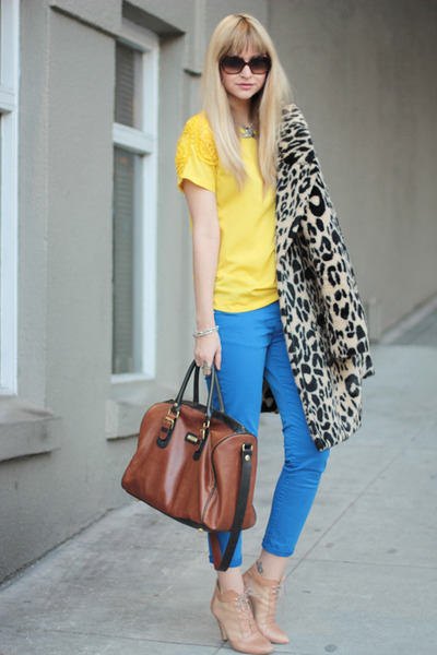 yellow Zara top - nude loeffler randall shoes - blue Zara pants