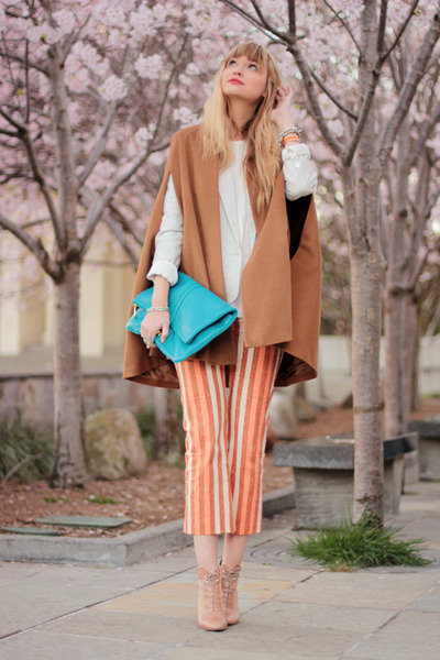 nude loeffler randall shoes - teal Marc by Marc Jacobs bag - tawny Zara cape - c
