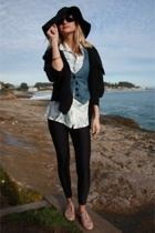 hat - free people sweater - blouse - H&M vest - American Apparel leggings - Urba