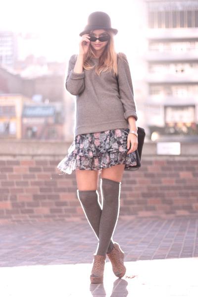 gray Zara sweater - gray Chic Swap skirt - gray asos socks - brown Forever21 sho