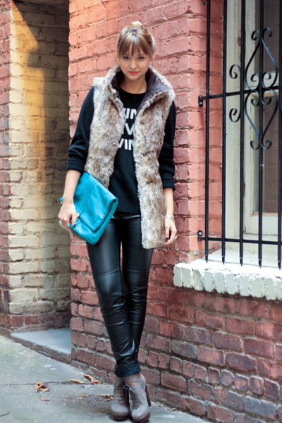 black tory burch sweater - black H&M pants - brown Zara vest - blue Marc by Marc