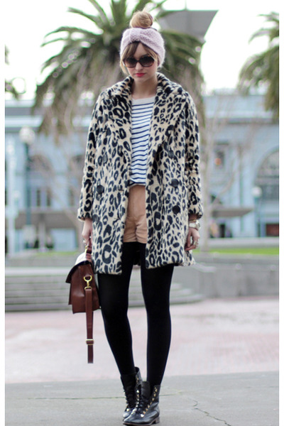 eggshell H&M coat - brown Style Sofia bag - nude H&M shorts