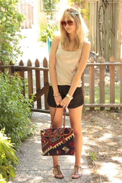 brown Coconuts shoes - beige thrifted shirt - blue Armenian Carpet Bag purse