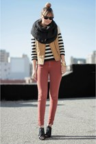 black H&M sweater - charcoal gray Zara scarf - mustard Zara vest