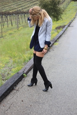 gray H&amp;M blazer - black Volitile boots - black American Apparel dress
