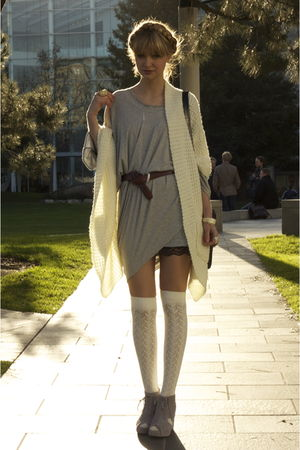 white modcloth sweater - gray Jeffrey Campbell shoes