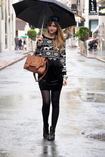 black Topshop skirt - black Need Supply boots - black nastygal sweater