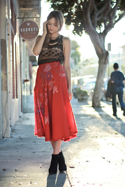 black Jeffrey Campbell shoes - red vintage skirt
