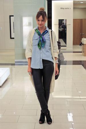 black H&M pants - white American Apparel sweater