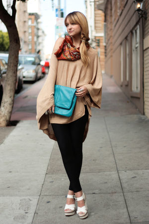 beige H&M sweater - white Kenzo shoes - brown vintage scarf