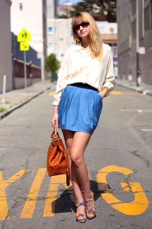 white vintage blouse - blue H&M skirt - blue Cynthia Vincent for Target shoes -
