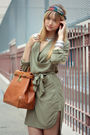 Green-h-m-dress-green-vintage-scarf-brown-storets-purse