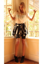 black Volitile shoes - black Forever 21 shorts - white vintage blouse