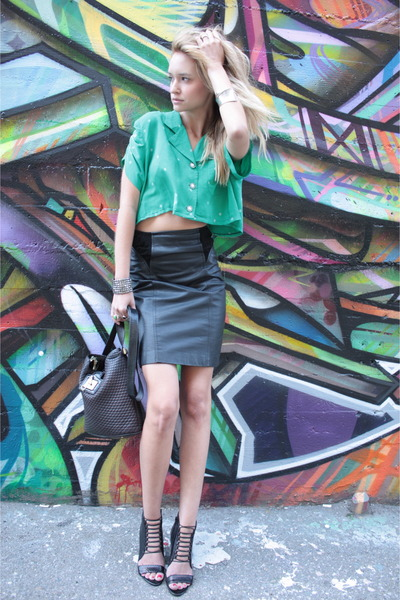 green Urban Renewal shirt - black Aldo shoes - black vintage skirt