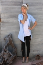 blue Urban Outfitters shirt - white Forever21 shirt - pink DSW shoes