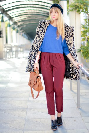 ruby red asos pants - blue asos sweater - black Alexander Wang wedges
