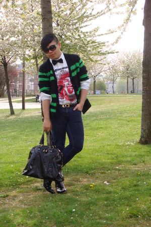 black Marc by Marc Jacobs cardigan - white John Galliano shirt - blue Primark je