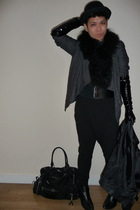 gray Zara jacket - black D & G purse - black scarf - black Zara hat - black Zara